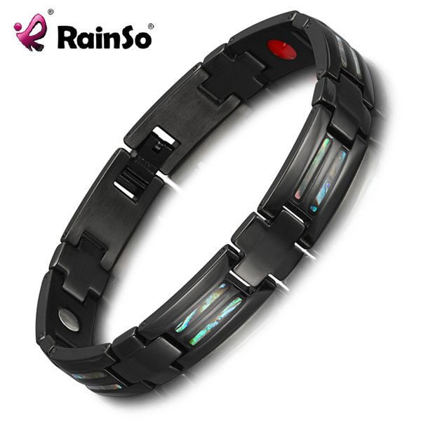 Rainso Charm Bracelets para hombres Negro Titanio Pulseras de fibra de carbono Brazaletes Homme Therapy Pulsera magnética Dropshipping