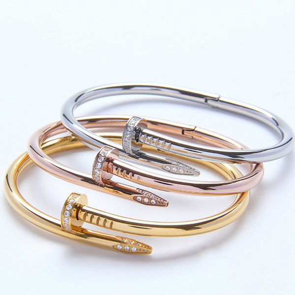 Marke Klassische Designer 18 Karat Gold Inlay Diamant Schraube Nagel Manschette Armband Frauen Mode Luxus Schmuck Beste Valentinstag Geschenk