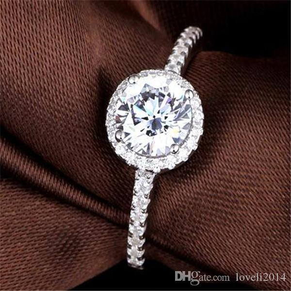 ForLove Two Gifts Luxury Simulated CZ Diamond Genuine 925 pure Sterling Silver rings for women wedding engagement