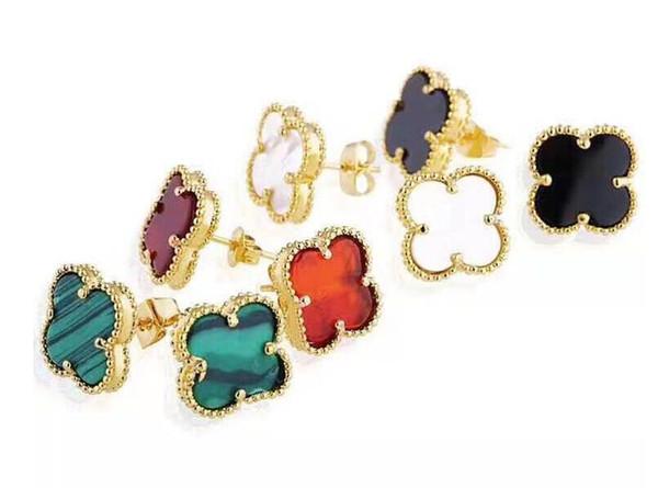 Designer caldo Acciaio inossidabile naturale nero bianco conchiglia agata fiore a quattro foglie orecchini a bottone singolo oro 18 carati orecchini per gioielli donna