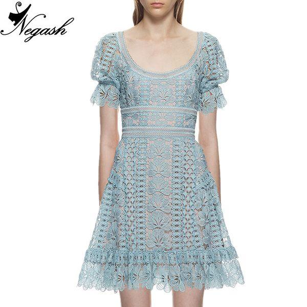 2018 chegam novas de alta qualidade runway verão rendas solúvel em água oco bordado slim openwork crochet lace dress vestidos