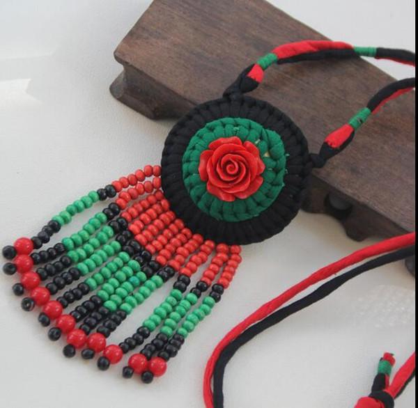 Retro Pullover Kette Anhänger Yunnan ethnischen Stil Stoff Halskette Kleidung Anhänger Ornamente wilde Ornamente weiblichen Accessoires