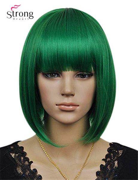 Женская Cosplay Party Синтетическое Волокно Короткие Прямые Темно-Зеленые Волосы Боба Полный Парики