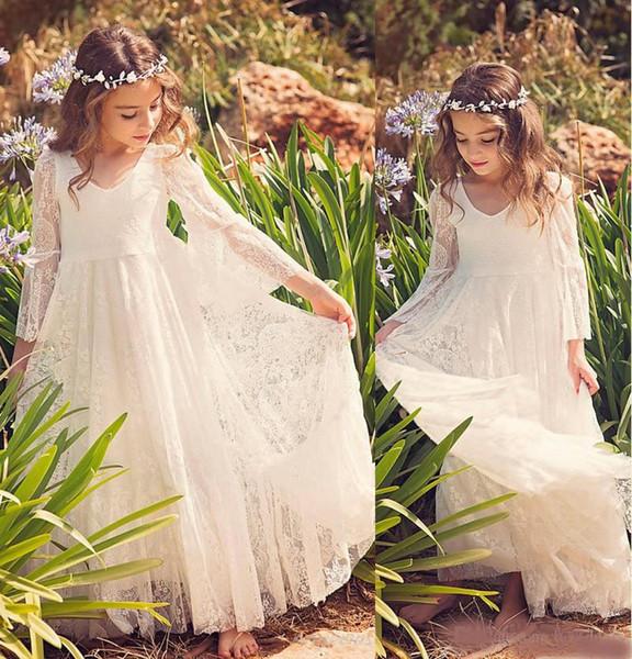 2019 Neue Strandabschluss Kleider Weiß Elfenbein Boho Erstkommunion Kleid Für Kleine Mädchen V-ausschnitt Langarm A-Line Günstige Kinder prom Kleid