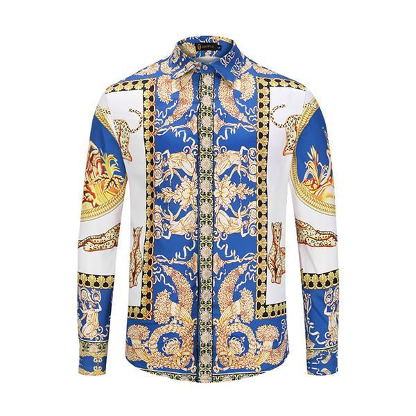 Brand New Fashion Designer Men's Fashion Harajuku Casual Shirt Luxury Medusa Black Gold Fancy Print Business Slim Fit Shirts