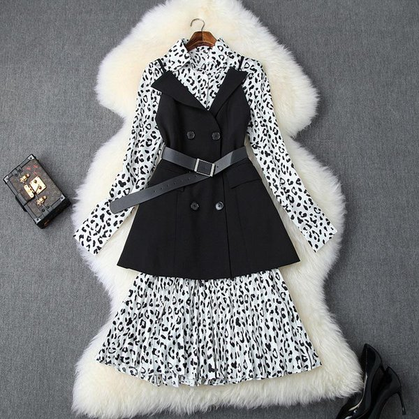 2019 Fall Autumn Long Sleeve Leopard Print Lapel Neck Pleated Midi Dress + Black Belted Vest Casual Fashion Two Piece Sets S1510T10129