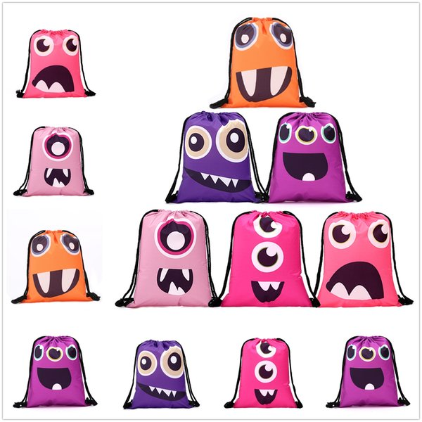 New Funny Face Style Polyester Storage Bag Bundle Pocket With String Lovely Gift Decor Free Shipping