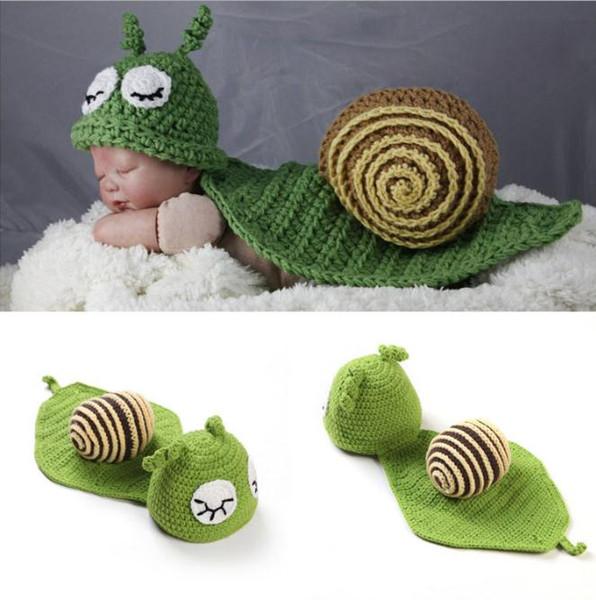 Sonolento Caracol Bebê Unisex Foto Props BoyGirl Crochet Chapéus Cape Set Infantil Do Bebê Traje de Natal Crochet BABY Hats
