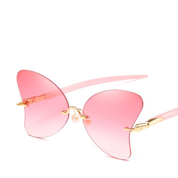 2019 New Butterfly Sunglasses Women Sun Glasses Gradient Color Female Vintage Shaped Sunglasses Brand Designer Pink Color