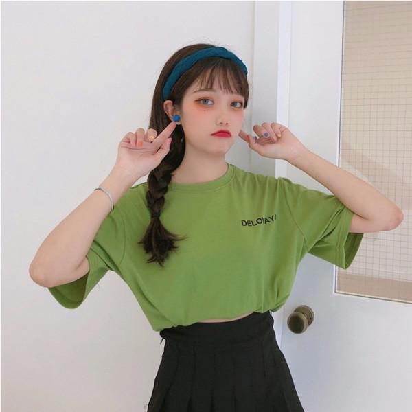 2019 printemps et en été nouveau les manches des femmes T-shirt respirant Slim mince tête R073