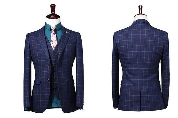 Slim Fit 2019 Groom Tuxedos Wool Strip Wedding Suits Custom Made Tweed Groomsmen Best Man Prom Party Suits Black Pants (Jacket+Pants+Vest)