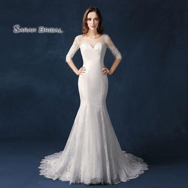 Dubai Long Sleeves Lace Cape Style In Stock Wedding Dresses 2019 Bateau Neck Maternity Destination Arabic Dress A Line Bridal Ball Gown SW09