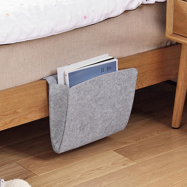 1pc Tablet Magazine Cellphone Organizer Bag Bedside Caddy Felt Bed Storage Organizer Bag With 2 Small Pockets Household