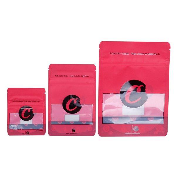 Cookies Rosso Blu Colore sacchi con chiusura S / M / L Taglia 3.5g Pacchetto Prova Imballaggio Sacchetto Vape per Dry Herb Flower
