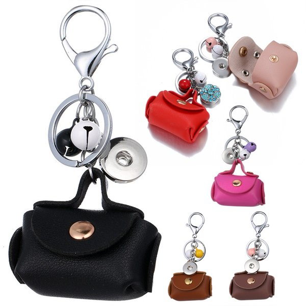 Mini Coin Purse Keyfob Lady Leather Bell pendant Keychain 8 Styles Noosa Alloy Button accessories Key Holdle Support FBA Drop Shipping M51Q