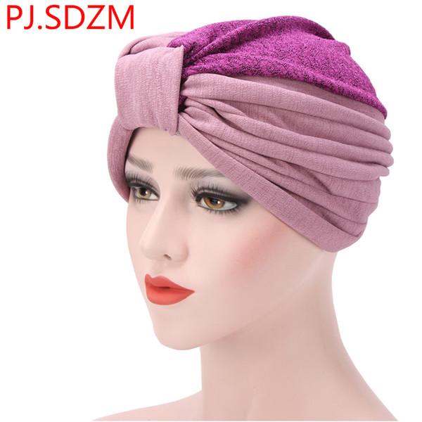 PJ.SDZM Autumn Winter Muslim Headband Indian Cap Spliced Colors Stitching Pleated Women Hijab Turban Bandanas Casual