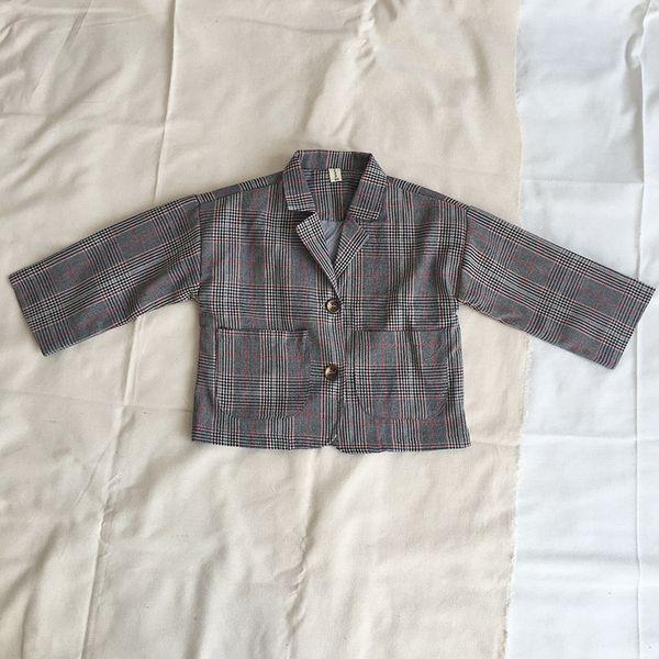 Coréia do desgaste das Crianças modelos de Primavera curto parágrafo Terno casaco Menino Menina Pequena lapela treliça casaco Lazer