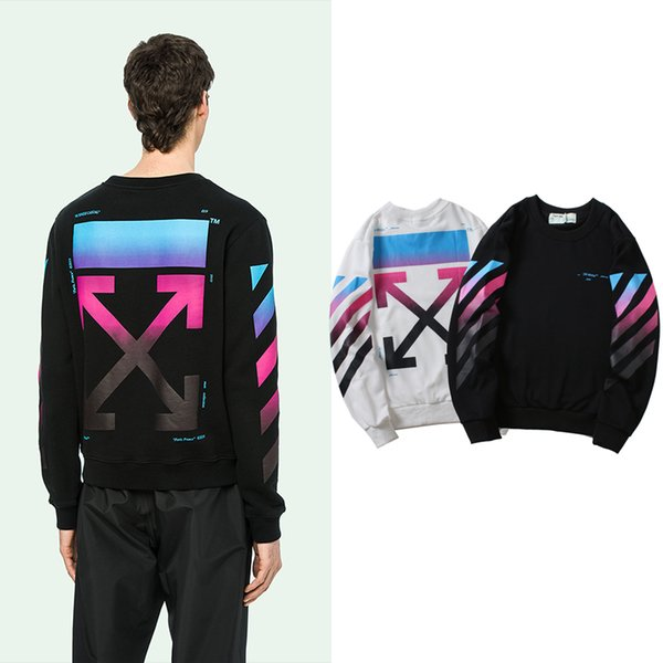 Autumn and winter new gradient round neck sweater rainbow arrow colorful men and women with the same sweater.