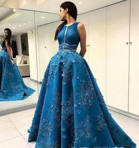 2019 онлайн платья выпускного вечера Jewel шеи аппликации из бисера длинные вечерние платья с сексуальными назад линии платья партии выпускные платья