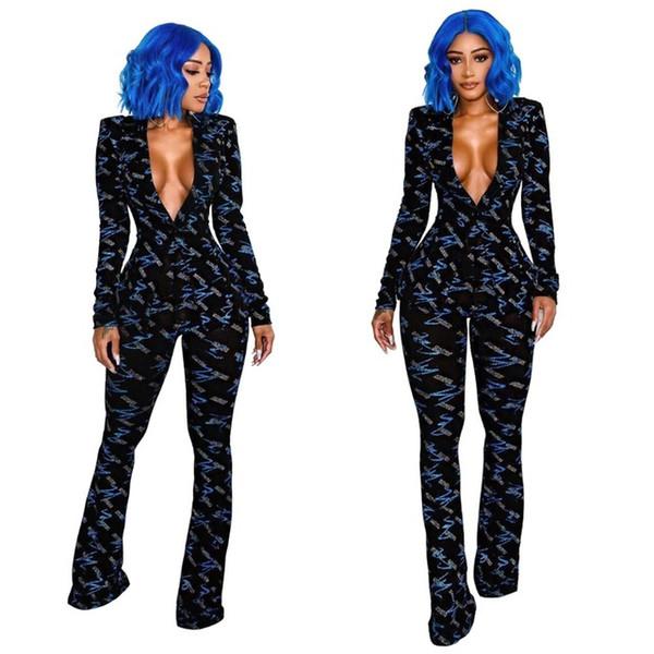 2019 Primavera scollo a V moda stampato 2 pezzi Set Lady Single Button manica lunga Cappotti e pantaloni a fiammifero lungo di corrispondenza