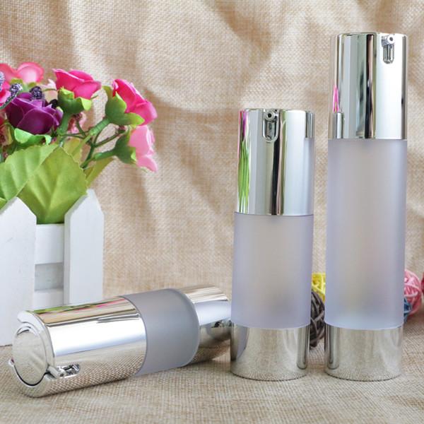 Airless 15ml 30ml 50ml Vacío Vacío Vaso de inodoro Vaso cosmético Frosted Bottle Mini Transparente Loción Maquillaje Contenedor 10pcs