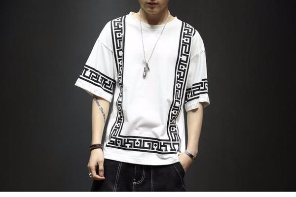 Harajuku Streetwear Camiseta Branca Dos Homens Modas Engraçado Camiseta Homens T Shirt Meia Manga Hip Hop T-Shirt Dos Homens 5XL Verão