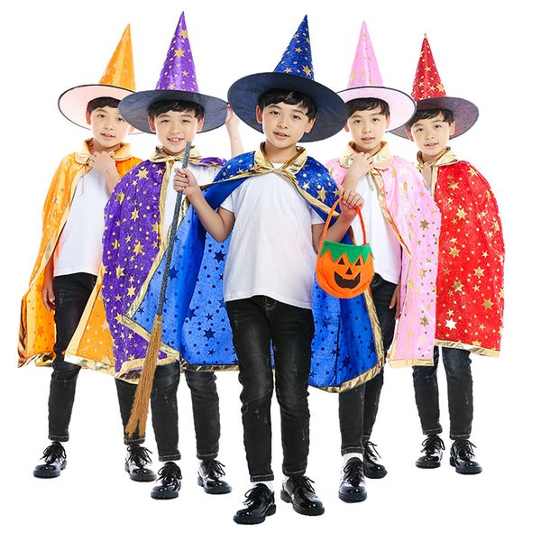 90cm Kids halloween costumes cloak hat child gold five starts cape party festival decoration prop cosplay death wizard witch cape and cap