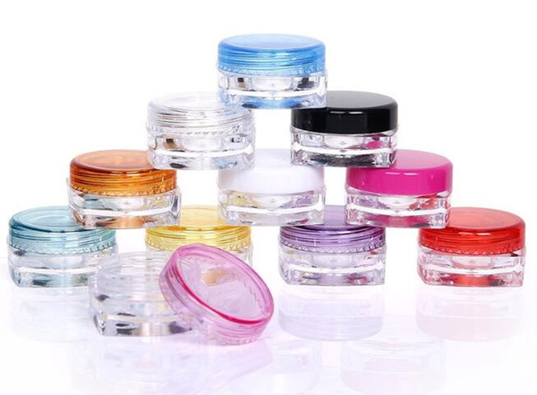 5g/3g Cream Jars Cosmetic Sample Empty Container Plastic Round Pot Screw Cap Lid Small Tiny Bottle for Make Up,Eye Shadow,Nails
