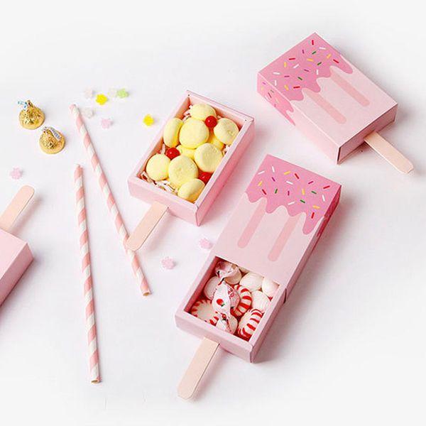 20pcs Rosa di figura del gelato sveglio di Gift Box Popsicle di caramella pieghevole scatola di carta del fumetto cassetto Confezione regalo per i bambini Baby Shower di compleanno