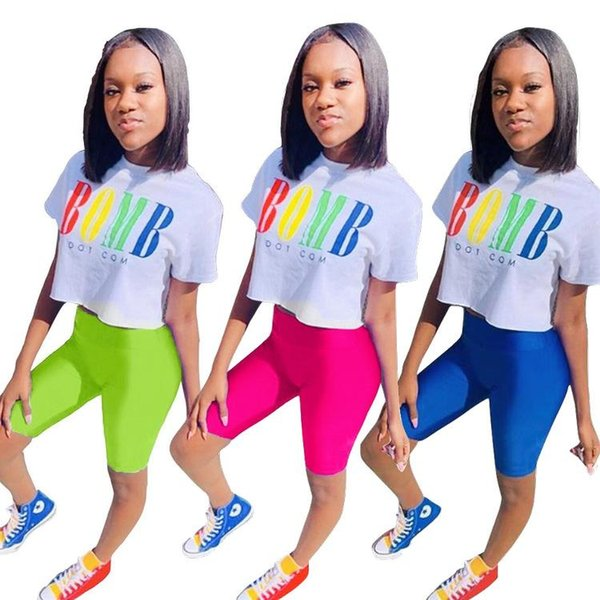 Kontrast Renk Patchwork Mektubu Baskı Set Casual Kadın Iki Parçalı Takım Elbise Kısa Kollu O Boyun Gevşek Tees + Skinny Lady Kısa Pantolon Eşofman