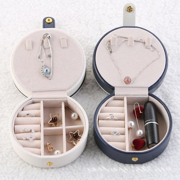 Viagem de jóias caixa Organizador exibir caixas de caso - Portable Colar Brinco Anel Zipper PU Leather armazenamento Organizador