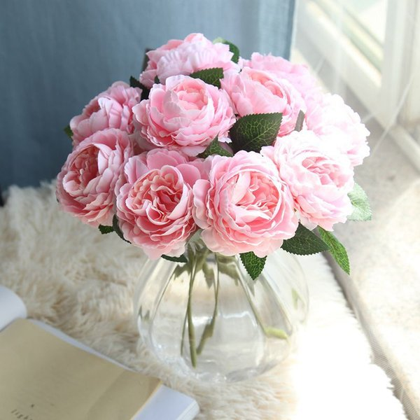 5pcs/lot Rose Artificial flower Fake Western Rose Flower Peony Bridal Bouquet Wedding Home Decor 2019New
