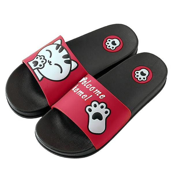 YOUYEDIAN zapatos mujer zapatillas diapositivas femme MenWomen en el interior Zapatillas Cartoon Cat Floor Family Shoes Playa zapatos de mujer # g4
