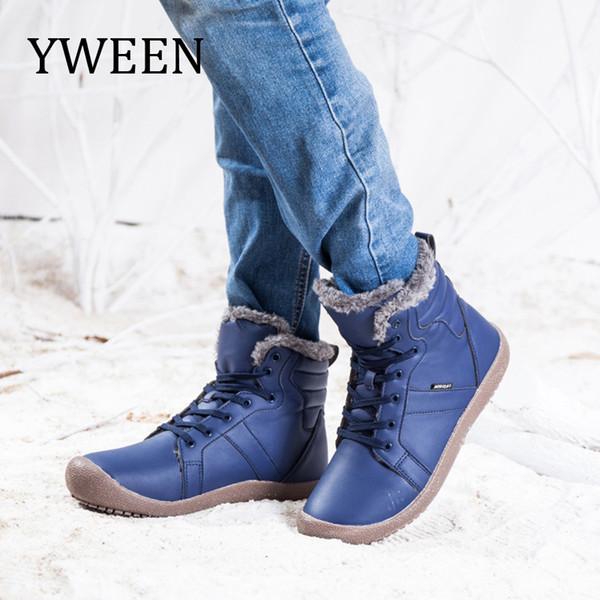 Die wasserdichten Großhandelsstiefel der neuen Männer wärmen Plüsch-Leder-Stiefel-Mann-rutschfeste Knöchel-Schuhe mit Größe