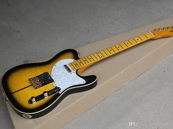 Guitarra elétrica preta amarela com Merle Haggard Signature Tuff Dog-SUPER RARE, folheado bege chama, oferecendo serviços personalizados