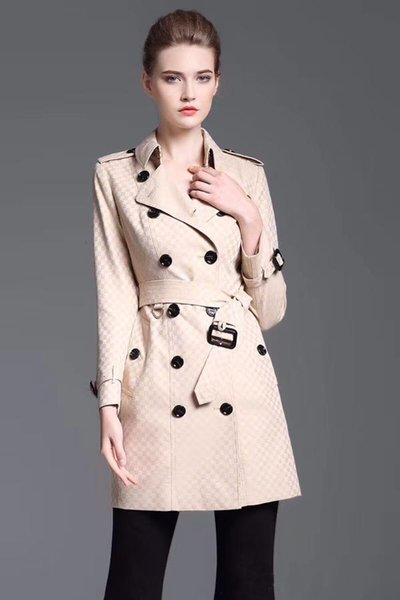 women's trench coats gabardine long windbreaker belt waterproof double-breasted new english style autumn winter solid color british 77c