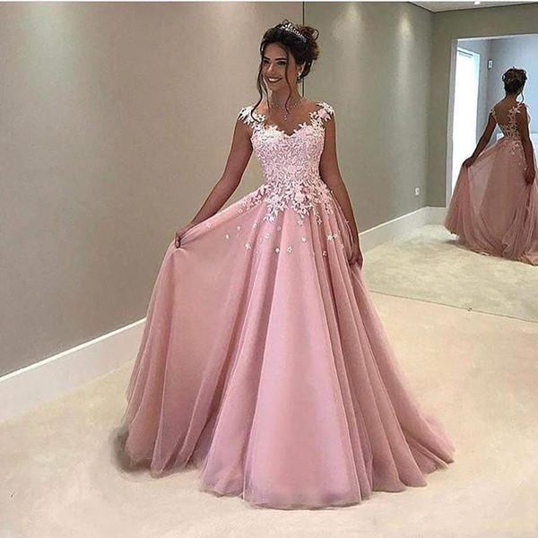Vestidos de fiesta vintage de una línea de color rosa con apliques de encaje con mangas en la manga Vestidos de noche transparentes Vestidos de fiesta formales Vestidos largos baratos
