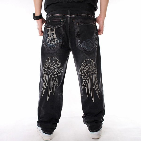 Men street dance hiphop Jeans Black Loose board Denim pants Overall Male Rap Hip Hop Jeans Fashion embroidery Plus Size 30-46