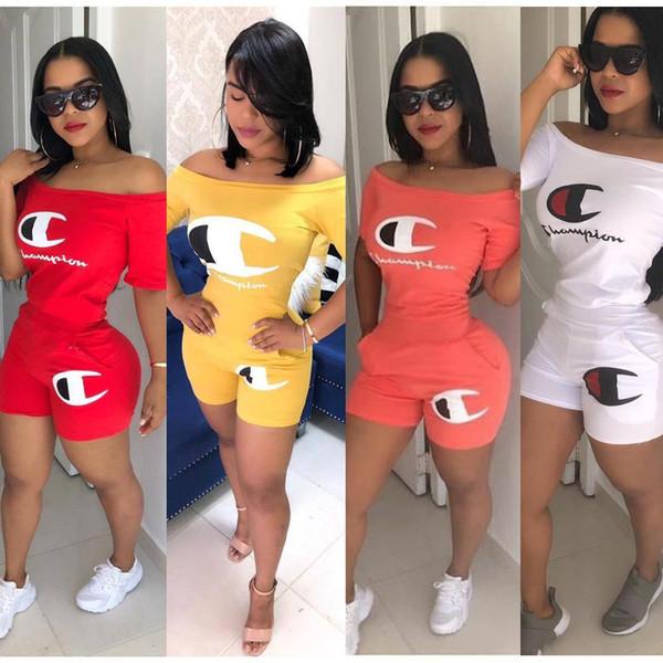 Femmes Champions Lettre Shorts Survêtement À Manches Courtes Flat Off Épaule T Shirt + Shorts 2 Pièce Outfit Sportswear S-2XL Club Vêtements C41601