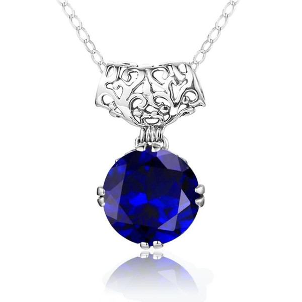 best selling Szjinao Blue Sapphire Pendant Necklaces For Women Silver 925 Jewelry Round Gemstone Vintage Engagement Party Pendentif Factory