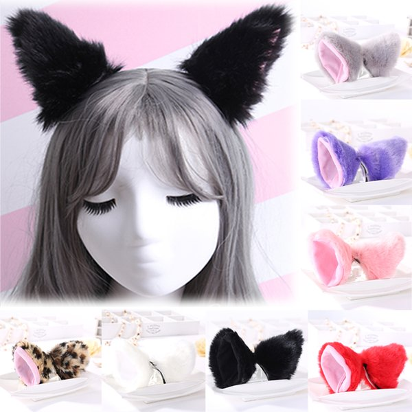 Sale 1 Pair Cat Fox Ears Hairpins For Women Girls Fashion Plush Headclips Lovely Gift Cosplay Anime Dance Hair Accessories