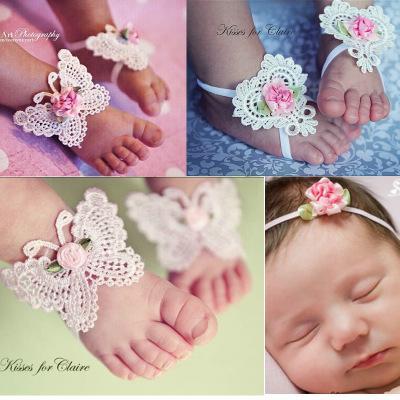 Niños hermoso regalo BalleenShiny 3 unids venda de la flor del bebé sandalias descalzas accesorios del pie del pelo elástico moda pie decoración