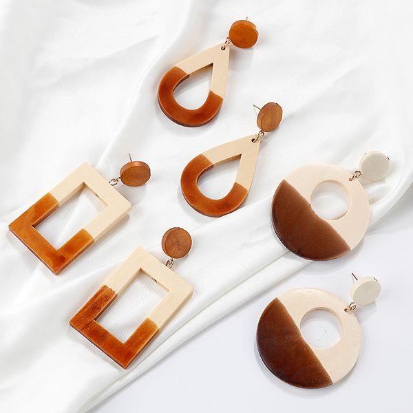 AENSOA New Design Women Orecchini Eardrop Handmade Legno Geometric Hollow Orecchini Donna in stile naturale Long Ciondola regalo