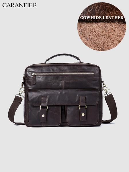 CARANFIER Mens Briefcases Business Travel Bags Genuine Cowhide Leather Vintage Shoulder Messenger Bags Quality Laptop Handbags