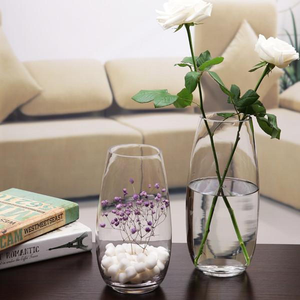 Home Decoration Shop Decorations Transparent Vases New Ash Transparent Classic Glass Vase Flower Vase Hydroponic Bottle
