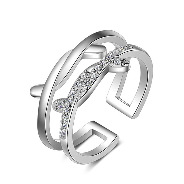 Brass ring two line twist togather zircon round setting Imitation Rhodium rose gold plated woman opening