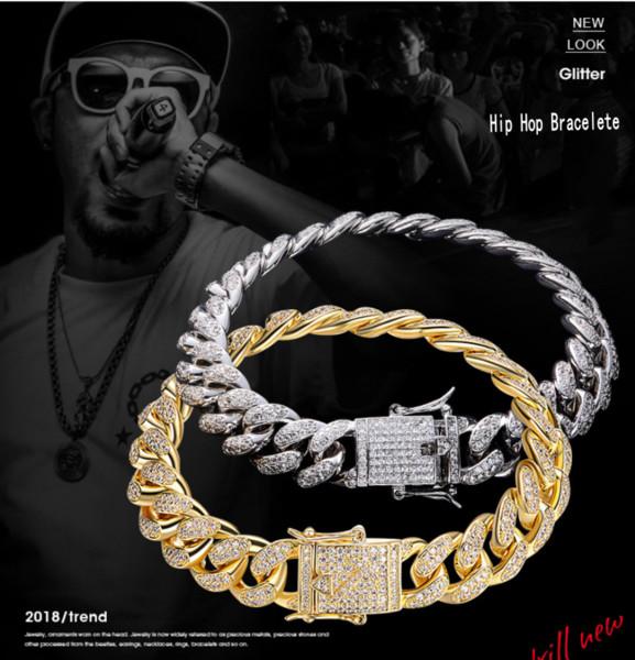 2019 Nuovo Arrivo Vendita Calda Hip Hop Gioielli Vintage Reale 18 K WhiteGold Fill Bracciale Cubano Pavimenta 5A Cubic Zirconia Splendida Uomini Donne Bracciale