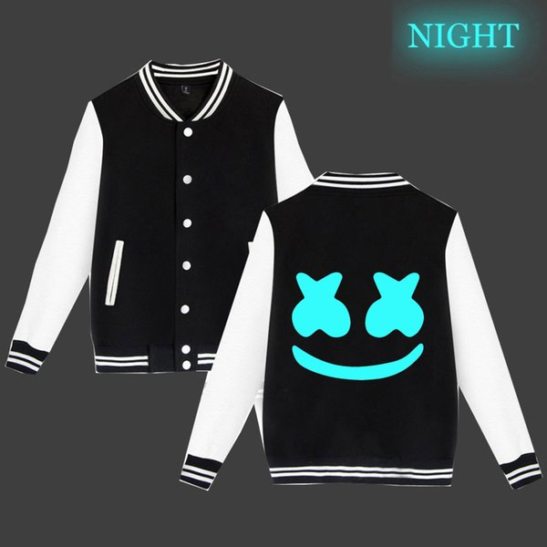 DJ Marshmello Luminous Pattern Printing Jacke Langarm Casual Sportswear Casual Sportswear Oberteile Baumwolle Baseball