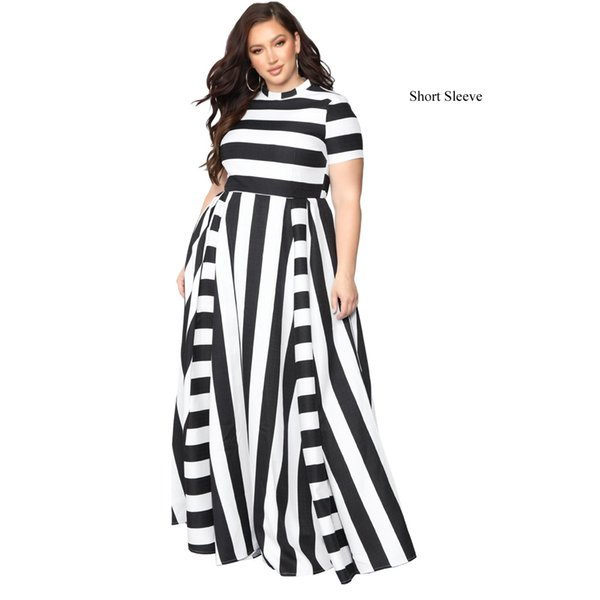 Novas Mulheres Maxi Longo Até O Chão Vestido de Comprimento Casual Plus Size 3XL 4XL 5XL Senhoras 2019 Primavera Outono Listrado Vestidos de Festa Vestido Feminino FS5193
