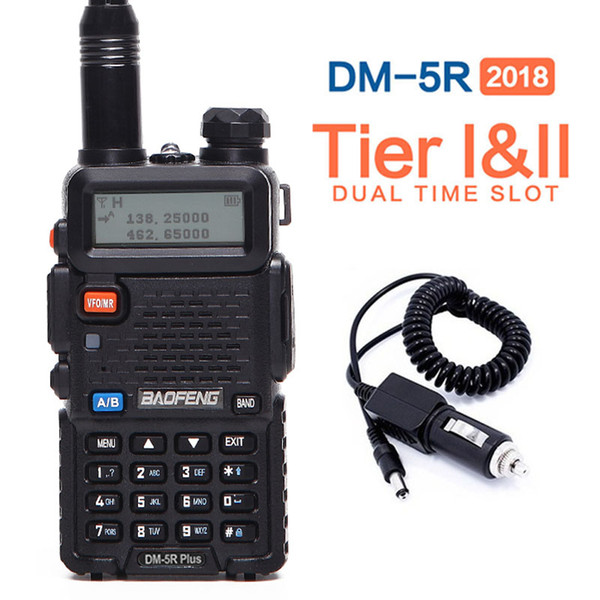 best selling 2019 Baofeng DM-5R PLUS Tier1 Tier2 Digital Walkie Talkie DMR Two-way radio VHF UHF Dual Band radio Repeater +a car charger